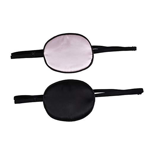 Lurrose 2 unids Parches de Seda de Ojos Suave Cómodo Solo Ajustable Pirata Máscara de Ojo Cubierta de Ojo para Adultos Amblyopia Strabismus Lazy Eye Training