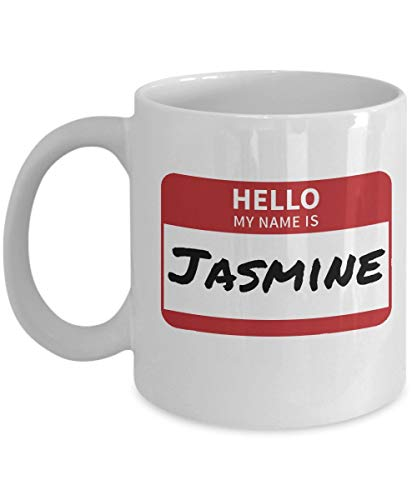 N\A Jasmin Namensschild Neuheit Kaffeetasse Weiß Acryl 11oz Hallo Mein Name ist Aufkleber