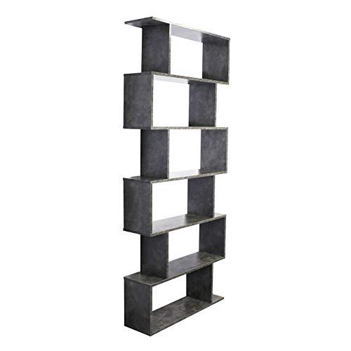 WilTec Estantería Forma-S 6 Huecos Gris Cemento Librería Separador ambientes Muebles Decoración Almacenaje
