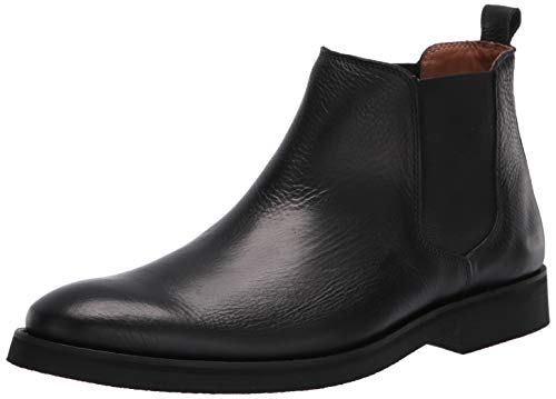 Driver Club USA Men's Luxury Leather Boot with Lug Sole Ankle, Black Grainy, 13 M US