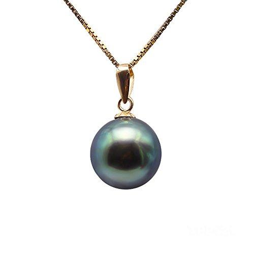 JYX peacock perlen AAA anhänger tahiti perle 18K Gold 10mm Pfau Grün Runde Tahiti Perle Halskette Anhänger perlenanhänger echte perlen tahiti-zuchtperle