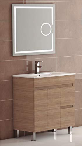 EL ALMACEN DEL PROFESIONAL Juego de Mueble de Baño Modelo Egipto Porcelana, Conjunto formado por Mueble de Baño Estilo Madera Color Cambrian Ancho 100cm, Lavabo de Porcelana y Espejo a Juego