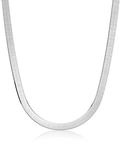 Amazon Collection Women's Herringbone Chain Necklace, Sterling Silver,...