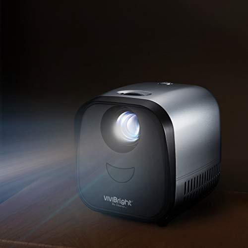 VIVIBRIGHT Mini Beamer L1, LED Pico Beamer,Tragbarer Projektor,Taschenvideo-Projektor. Es unterstützt HDMI, PC-Laptop, USB für Heimkino und Spiele (Silber)