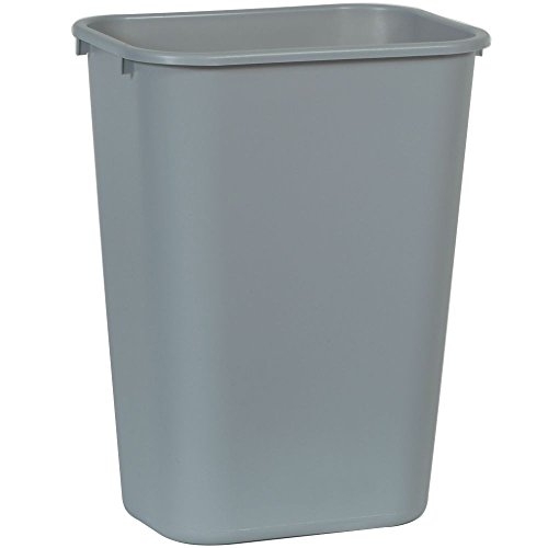 Rubbermaid Commercial 2957 LLDPE 10-Gallon Deskside Large Trash Can, Rectangular, 11' Width x 15-1/4' Depth x 19-7/8' Height, Gray