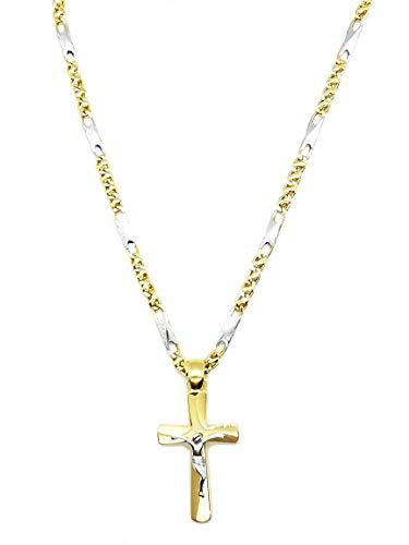 Collana da uomo con Crocifisso in oro giallo e bianco 18kt