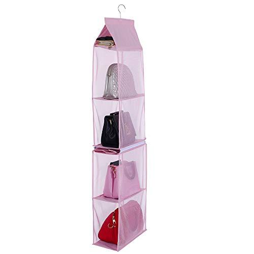 Desmontable 4 Compartimento Organizador para Colgar Bolso de Mano Organizador Monedero Bolsa Colección Soporte Armario Ahorro de Espacio de Armario organizadores (Rosado)