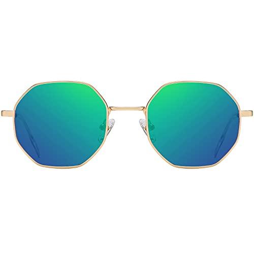H HELMUT JUST Gafas de Sol para Mujer Hombre Redondas Retro Polarizado Lente tipo Verde Espejo Anti reflejo