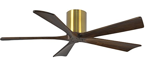 Matthews IR5H-BRBR-WA-52 Irene 52' Outdoor Hugger Ceiling Fan with Remote & Wall Control, 5 Wood...