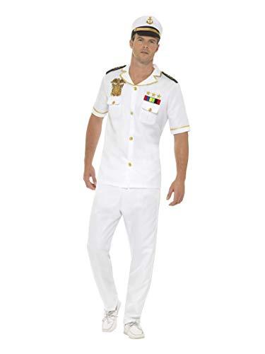 Smiffys Herren Kapitän Kostüm, Oberteil, Hose und Hut, Größe: M, 48062