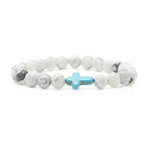 Xusamss Fashion Religious Cross Bracelet 8mm Tiger Eye Turquoise Beads Elastic Bracelet,7 1/2 Wrist