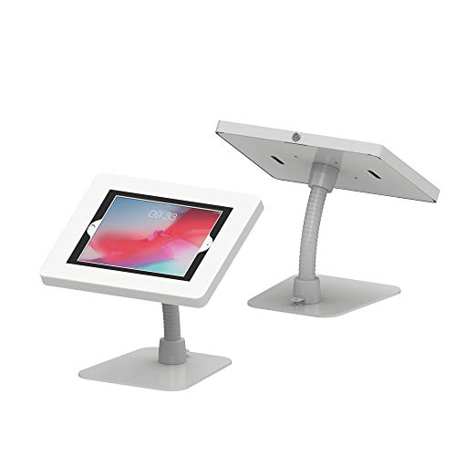 CTA Digital: Premium Security Kiosk Stand with Gooseneck Tabletop Mount for 9.7' to 11' Tablets, White