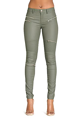 Crazy Lover Damen Kunstleder Leder Look Hosen Damen Biker Stretch Coated Jeans (42, Khaki)