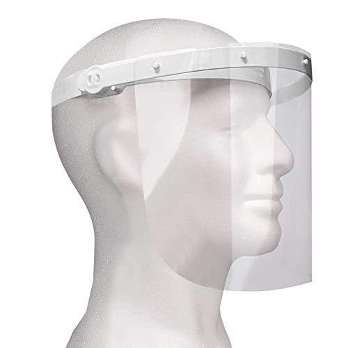 Enka Care Gesichtsschutz Visier aus Kunststoff - Augenschutz Spuck-Schutz - Premium Gesichtsschild - CE Zertifiziertes Face Shield (1H - 2V Weiß)