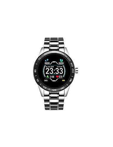 Roneberg RLM Reloj inteligente para hombre con elegante pulsera de funciones deportivas, aspecto es un reloj clásico. Monitor dinámico de frecuencia cardíaca, medición de presión (plateado)