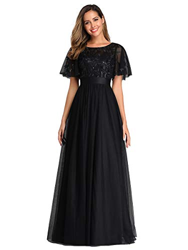 Women's A-Line Short Sleeve Sequin Embroidery Formal Evening Party Dress Black US4