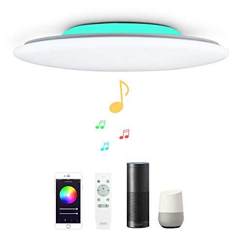 Preisvergleich Produktbild 40CM 36W Sternenhimmel WIFI Musik Led Deckenleuchte Kompatibel Mit Amazon Alexa Google Home deckenlampe Mit bluetooth lautsprecher,  RGB Farbwechsel Und fernbedienung Dimmbar Für Wohnzimmer