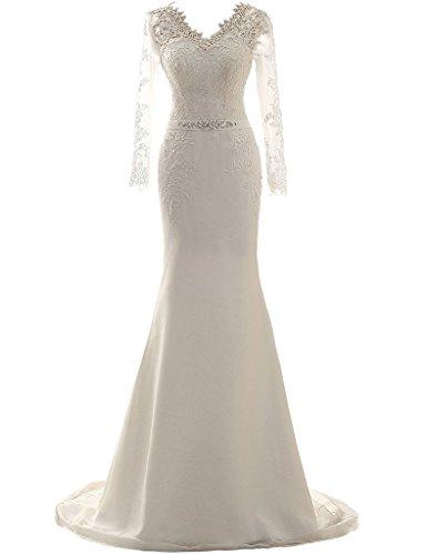 JAEDEN Abiti da Sposa Lungo Vestito da Sposa Sirena Donna Pizzo Chiffon V-Collo Manica Lunga Avorio EUR46