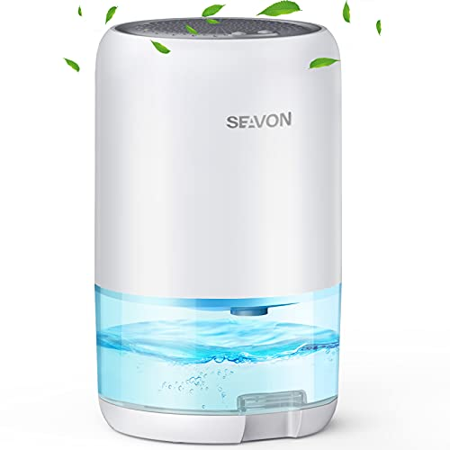SEAVON Dehumidifier for Home, 2600 Cubic Feet Small Dehumidifier 35oz for 280 sq ft Home with 2 Working Modes and Colorful LED Lights, Portable Dehumidifiers for Bedroom Bathroom Basements Closet RV