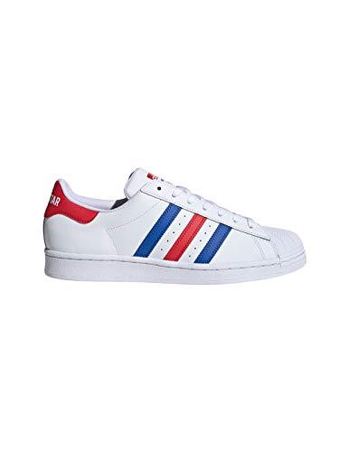 adidas Herren Superstar Schuhe Rot/Blau, Weiß - weiß - Größe: 44 EU