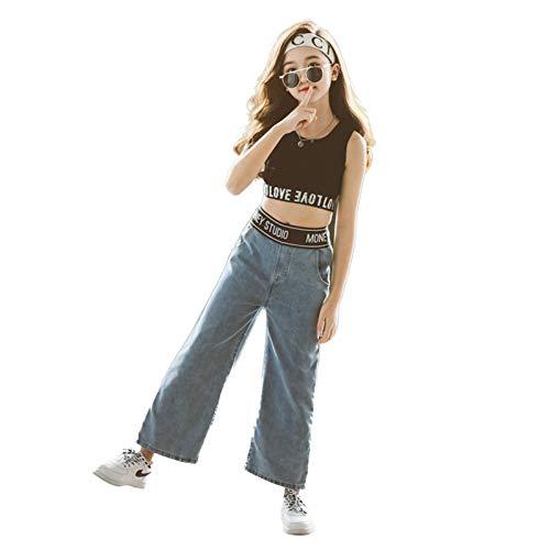 Agoky Niñas Infantil Conjuntos de Ropa Deportivos para Danza Jazz Hip Hop Traje de 2 Piezas para Baile Callejero Ropa Casual Verano Chica 3-14 años Negro+Azul 13-14 años