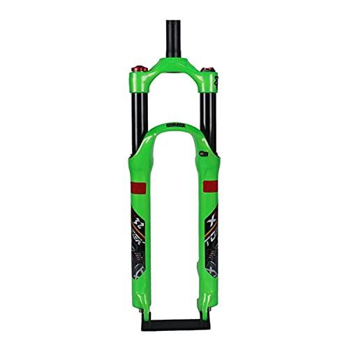 UPPVTE Horquilla De Suspensión para Bicicleta, 26/27,5 Pulgadas Tubo Recto Control De Hombro Freno De Disco Viaje 120mm QR 9mm Accesorios para Bicicleta (Color : Green, Size : 26inch)