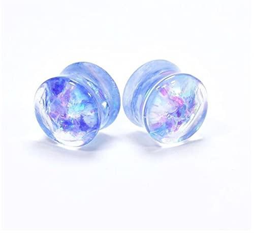 LDGR Lentejuelas Brillantes Medidores para Orejas Túneles De Orejas Expansores Tapones Vásitos Piercing Piercing (Main Stone Color : 22mm, Metal Color : Blue)