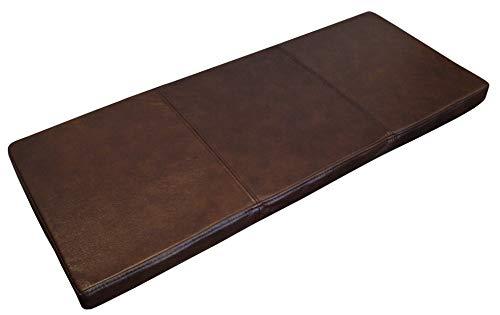 Quattro Meble Dunkelbraun Echtleder Bankauflage Sitzkissen Lederkissen Sitzpolster Bank Auflage doppelt genähtes Echt Leder Kissen Sitzauflage (40 x 90 cm)