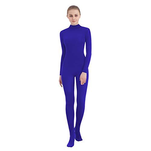 SUPRNOWA Unisex Mock rolkraag Lycra Spandex lange mouwen volledig pak (XL, koningsblauw (nieuw) met voet)