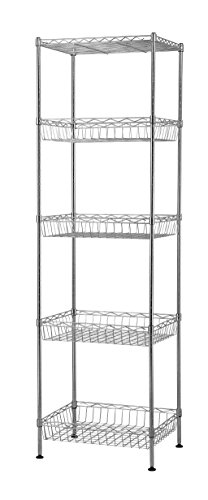 """Muscle Rack WB181460 5-Tier Wire Shelving Unit with Baskets, 60"""" Height, 18"""" Width, 14"""" Length"""