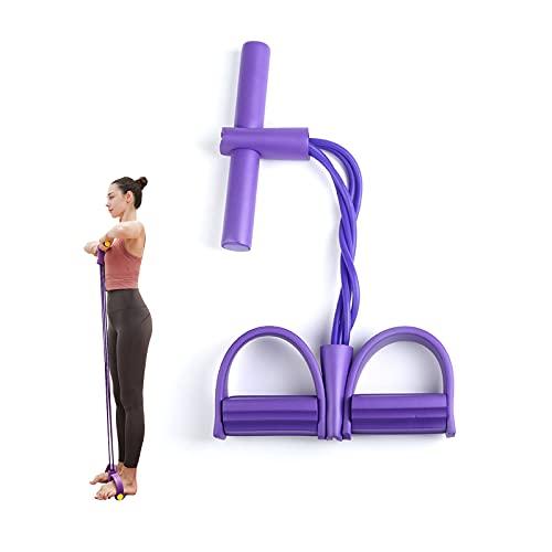 HOSPAOP Sit Up Bodybuilding, Sit-Up Bodybuilding Expander, Multifunzione Resistenza Allenamento, Corda Elastica da Sit-Up a 4 Tubi, Pull Rope Pedal, per Lo Yoga in Palestra a Casa (Viola)