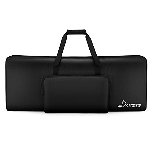 AYNEFY Electronic Keyboard Bag Fashionable Upscale Oxford Cloth 76-Key Electronic Piano Padded Case with Extra Pockets Portable Travel Backpack Keyboard Carrying Bag Black