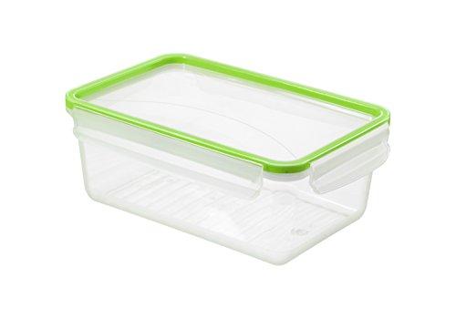Rotho Clic and Lock Frischhaltedose 2 l, Kunststoff (BPA-frei), transparent / grün, 2 Liter (23,9 x 16 x 9,2 cm)
