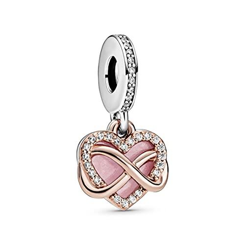 Pandora Funkelndes Unendlichkeits-Herz Charm-Anhänger mit Sterling-Silber und 14 Karat rosévergoldete Metalllegierung und Cubic Zirkonia Steinen aus der Pandora Moments Collection