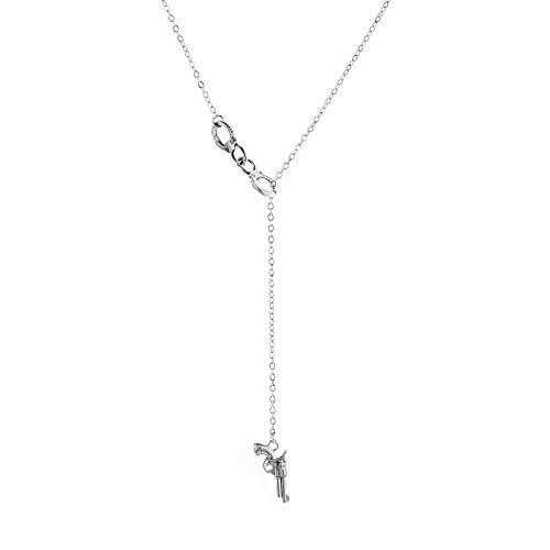 YLHJM Collar de Pistola Mujer Geométrica Cadena Amantes Handcuffs Grúa Colgante Joyería Colgante-Color Plata