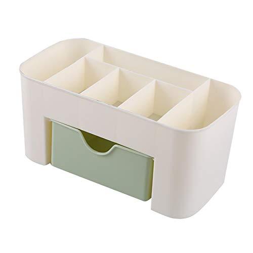 MERIGLARE Kosmetik Schubladen Und Schmuck Vitrine, Make Up Vitrine mit Mehreren Fächern Und Kosmetik Aufbewahrungsbox 8 X 13 X 4 Zoll - Grün