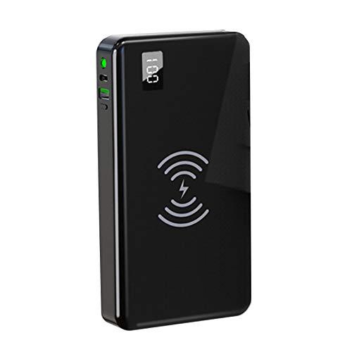 Banco de energía rápida inalámbrica de 10000mAh, Paquete con Puertos USB LED LED Cargador POTENAMIENTO Portátil Batería Compatible Externa,Negro,American