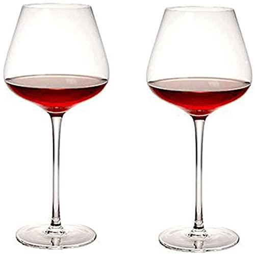 ZRDSZWZ Copas de vino tinto fiables Juego de 2 copas de vino tinto de color burdeos de cristal de alta calidad, gran regalo para cualquier ocasión (color: transparente)