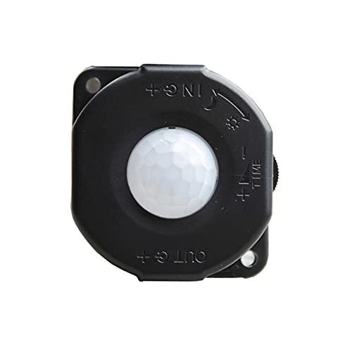 XIAOFANG DC 12V 24V 6A Infrarrojo automático PIR Interruptor del Sensor de Movimiento para DIRIGIÓ Lámpara de luz Negro/Blanco (Color : Black)