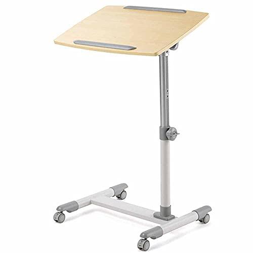 LJFYXZ Mesa de Ordenador Mesa de elevación mesa de centro Escritorio de pie Banco de trabajo de oficina Libertad de movimiento Ajuste de altura Podio Con ruedas Rango de elevación (Color:Marrón claro)