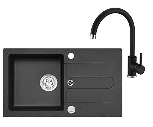 VBChome Spüle Schwarz 75 x 42 cm mit Spültischarmatur Granit Einzelbecken Einbauspüle gesprenkelt reversibel Verbundspüle + Siphon Wasserhahn Einhebel