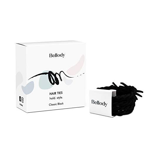Bellody Original Haargummis - Stylisch geflochtene Haargummis mit starkem Halt - 1er Pack (1x 4 Stück) (Classic Black)