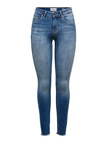 ONLY Damen Onlblush Mid ANK Raw Rea1303 Noos Jeans, Dark Blue Denim, 32 Small