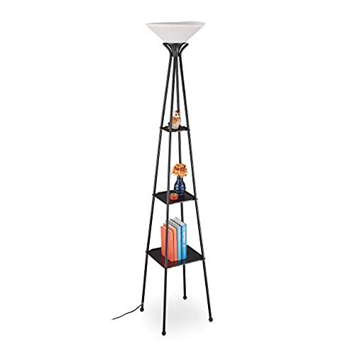 Relaxdays Golvlampa med hylla, HBT: 185 x 35 x 35 cm, E27-fattning, metall, modern golvlampa, 3 hyllor, svart/vit