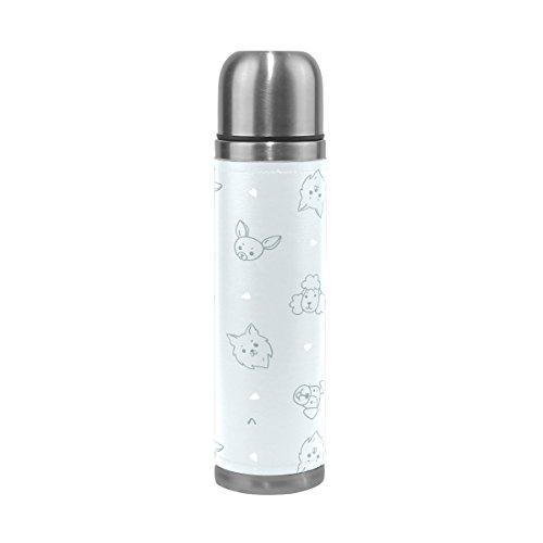 Ffy Go Travel Mug, mignon Imprimé animal personnalisé Thermos en acier inoxydable LeakProof Thermos isotherme extérieur Cuir pour filles garçons 500 ml