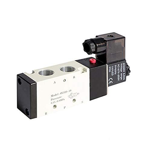 BAIJIAXIUSHANG-TIES Válvulas, Racores Válvula solenoide neumática DC12V 24V 4V310-10 Muffler 4mm 6mm 8mm 10mm 12 mm Fitting rápido AC110V 220V (Color : 4mm Fittings, Specification : AC110V)