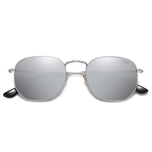 SOJOS Retro Vintage Specchio Polarizzate Lenti Poligono Protezione UV Occhiali da Sole SJ1072 Con Argento Telaio/Argento Lente