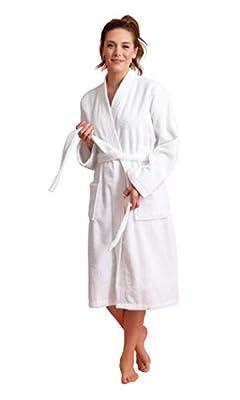 Soft Touch Linen Women's Robe Terry Cloth Kimono Bathrobe Thick 100% Turkish Cotton (Medium, White) by