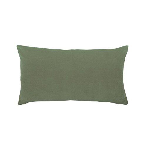 Vivaraise - Coussin Elise avec garnissage Moelleux – 30x50 cm - Taie d'oreiller Lavable - Housse Amovible – 100% Coton – Recto Velours, Verso Chambray - Couleur Vert Sauge