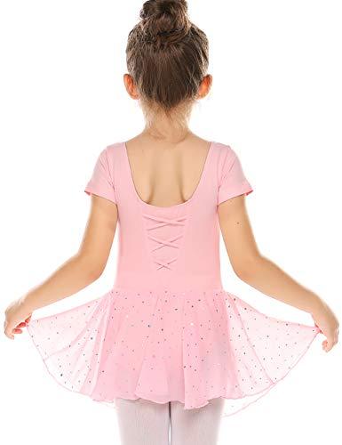 Bricnat Mädchen Ballettkleidung Ballettkleid Kurzarm Kinder Baumwolle Tanzkleid Tanzbody Balletttrikot mit Rock Tütü